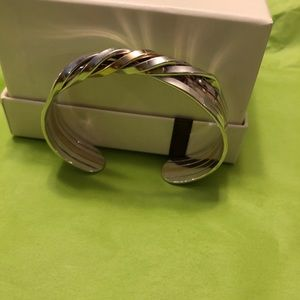 Two tone sterling silver cuff